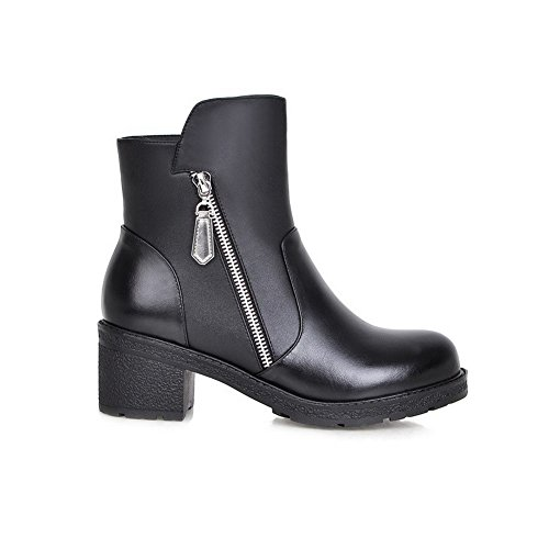 Closed AllhqFashion Boots Zipper Black Kitten Round Womens Heels top Low Toe Solid rw6Yvrq