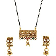 Kundan Polki Style Ractangular Shape Mangalsutra Tanmania Set with Earrings For Women India