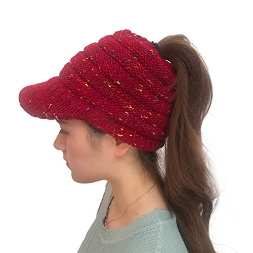 Londony Hats & Caps,Women Outdoor Knitted Hats Crochet Multicolor Knit Hip-hop Cap Wool Peak Cap