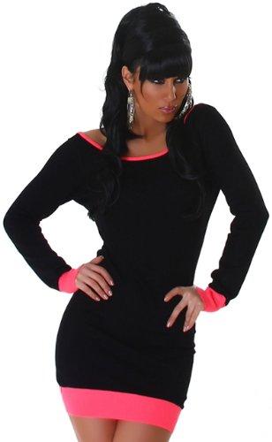Jela London–Vestido de punto para adorno de botones en el respaldo negro y rosa