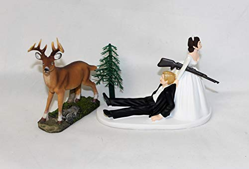 Wedding Camo Redneck blonde brunette hair Deer Hunter Hunting Cake Topper -