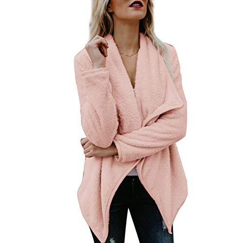 Aperta Davanti Colore Outwear Cardigan Rosa Donne Giacca Delle Sovradimensionato Sfocata Della fFwOfqZ