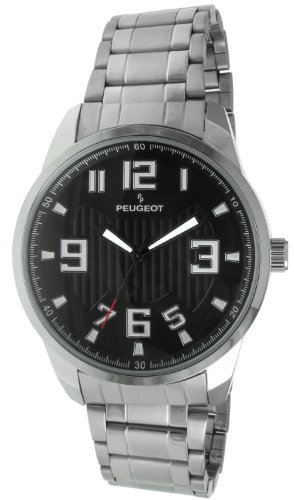 Peugeot 1026BK Men's Silver-tone Carbon Fiber Cutout Dial Watch