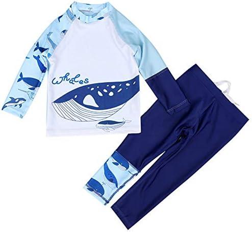 ボーイズ水着2点セット 子供用 キッズビーチウエア 長袖トップス+ボトムス ブルー鮫 2-9歳