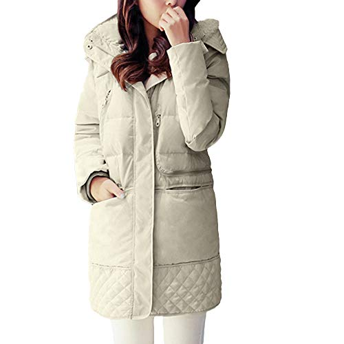 (Winter Coat for Women, Women Down Jacket Solid Color Thick Warm Lambswool Hooded Long Cotton Coats 2018 (White, L))
