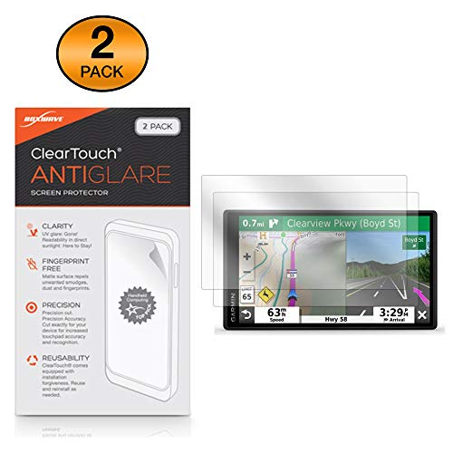 BoxWave Garmin DriveSmart 55 Screen Protector, [ClearTouch Anti-Glare  (2-Pack)] Anti-Fingerprint Matte Film Skin for Garmin DriveSmart 55