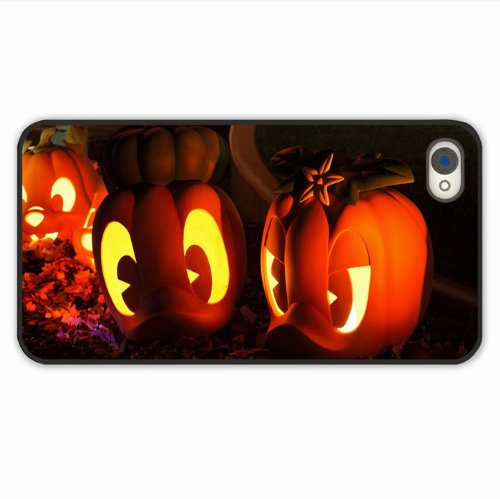 Customise Iphone Case 4 4S Case Holidays Halloween Holiday Pumpkin Plaster Casts Ducklings Light Of Romantic Gift Black Case Cover For (The Cast Of Halloween 4)