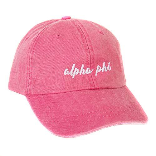 Desert Cactus Alpha Phi (N) Sorority Baseball Hat Cap Cursive Name Font A Phi (Hot Pink)