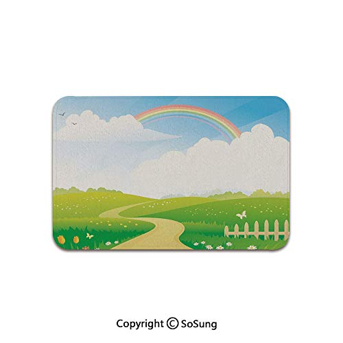 (Rainbow Area Rug,Landscape Image Green Hills Road and Rainbow Nature Flowers Love Earth Decorative,for Living Room Bedroom Dining Room,5'x 3',Lime Green Multicolor)