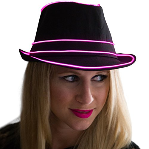Neon Nightlife Light Up Fedora, Large, Pink -