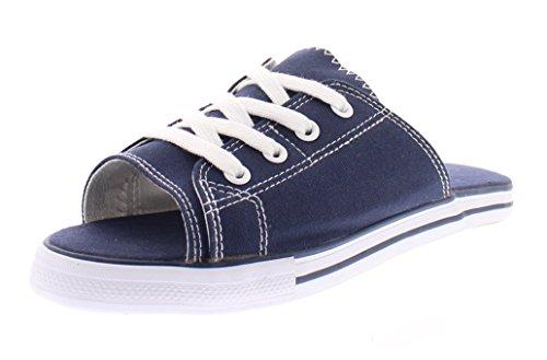 385 Fifth Women's Ace Canvas Lace up Slide Sandal Flip Flops Slip On Open Toe Flat Tennis Sneakers Shoes Navy 9 US