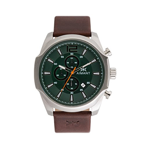 AIMANT-Mens-Lyon-Silver-with-Brown-Leather-Band-Watch-GLY-150L5-3S
