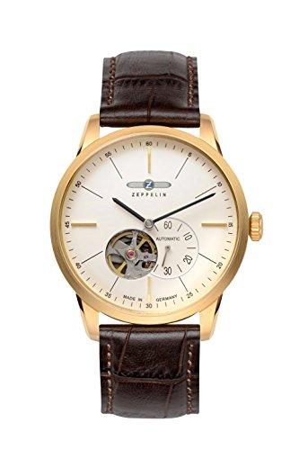 Zeppelin Flatline Automatic Open Heart Men's Goldtone Watch Brown Band 7362-1
