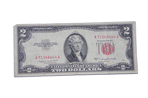 $2 United States Note - Red Seal - Average Circulated Condition - 1953 Mint