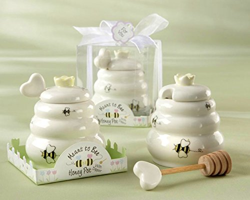 "Price comparison product image Newest wedding supplies ""Meant to Bee"" Ceramic Honey Pot with Wooden Dipper , party favors"