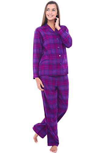 Alexander Del Rossa Womens Flannel Pajamas, Long Cotton Pj Set, Large Purple and Pink Plaid (A0509P74LG)