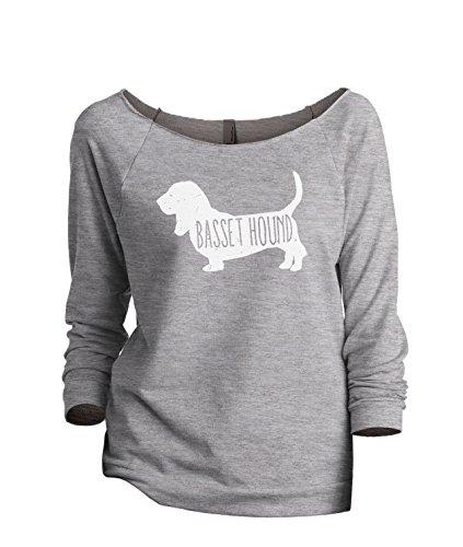 Thread Tank Basset Hound Dog Silhouette Women's Slouchy 3/4 Sleeves Raglan Sweatshirt Sport Grey Large