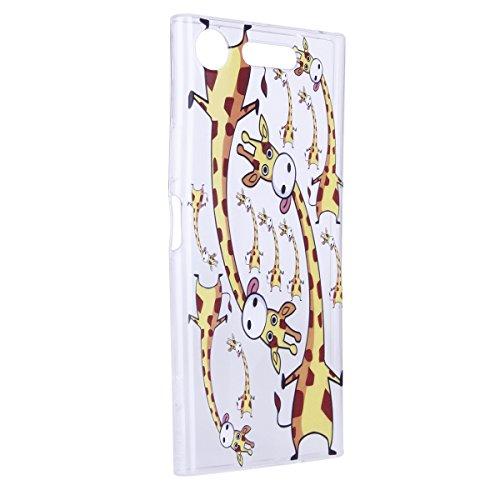 Funda Sony XZ1,SainCat Moda Alta Calidad suave de TPU Silicona Suave Funda Carcasa Parachoques Diseño pintado Patrón para Funda TPU Silicona Flexible Ultra Delgado Ligero Goma Case Cover Caja Suave Ge Jirafa
