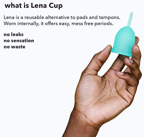 Lena Cup - Copa Menstrual - Grande - Turquesa - Flujo Abundante - Diseño Patentado, Hecha en EE.UU. - Reutilizable