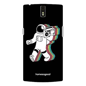 HomeSoGood Astronaut Listening Music Black 3D Mobile Case For OnePlus One (Back Cover)