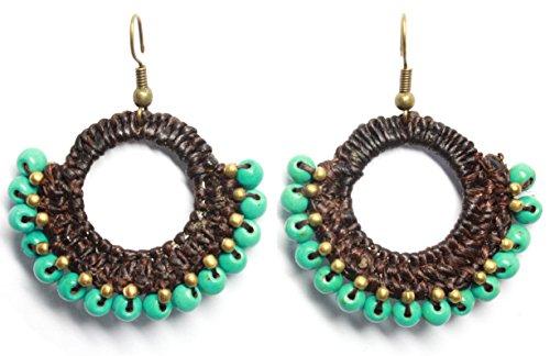 Bijoux de Ja Handmade Synthetic Turquoise Beads Crochet Drop Dangling Earrings