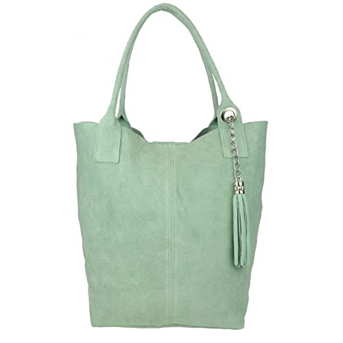 Bag Mint London Top Shoulder Leather White Italian Open Real Womens Genuine Craze Pelle Handbags Vera Suede Leather SxqCnpww7