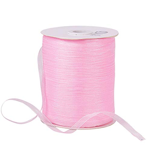 "BENECREAT 1Roll 1/4"" 500 Yards/Roll Sparkle Sheer Organza Ribbon for Festive Decoration DIY Crafts Arts & Garden,Pink"