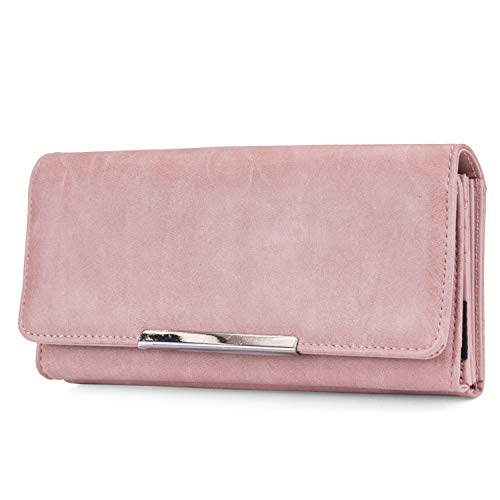 Mundi File Master Womens RFID Blocking Wallet Clutch Organizer With Change Pocket (One Size, Dusty Rose)