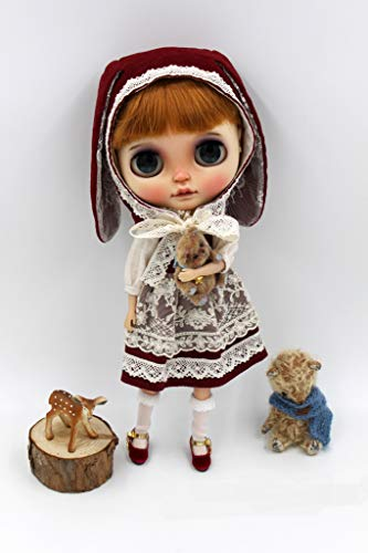 Velour Vintage Hat - JSB05 Vintage Velour Bunny Blythe Dress Dark Red Lace Rabbit Suit Blythe Doll Clothes