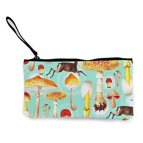 - XUJ YOGA Canvas Coin Purse Zipper Pouch Wallet for Cell Phone Cash Bank Card Passport Coin Deer and Mushroom Wristlets Portable Bag