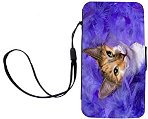 Rikki KnightTM Kitten Lying in Purple Feathers Design Galaxy S4 PU Leather Wallet Type Flip Case with Magnetic Flap and Wristlet for Samsung Galaxy S4 i9500 by mcsharks