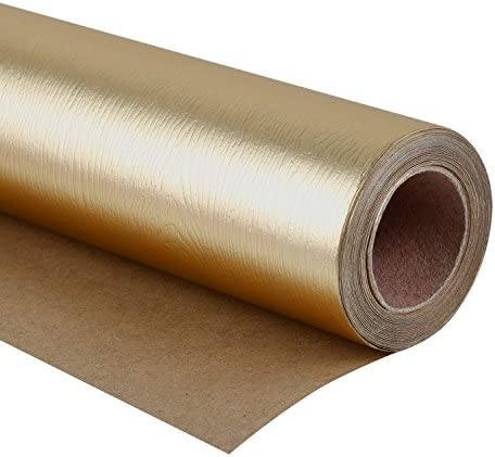 WRAPAHOLIC Wrapping Paper Roll - Basic Texture Matte Gold for Birthday, Holiday, Wedding, Baby Shower Wrap - 30 inch x 16.5 ft