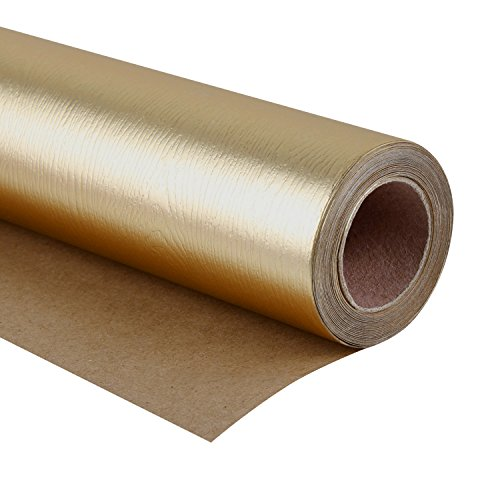 WRAPAHOLIC Gift Wrapping Paper Roll - Wood Grain Basics Glossy Gold for Birthday, Holiday, Wedding, Baby Shower Gift Wrap - 30 inch x 16.5 feet ()