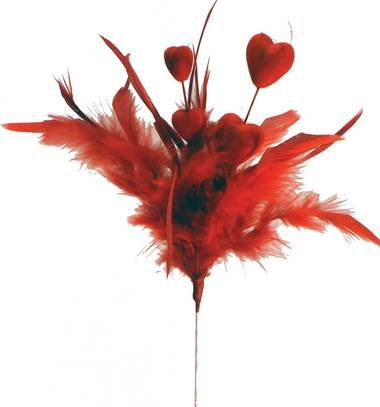 Package of 6 Romantic Red Feather Sprays with Flocked Hearts on Wire Picks for Embellishing and Crafting Hanken