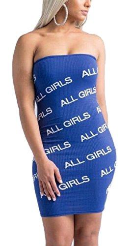 Mini Sexy Womens Dress Tube Dress Strapless Jaycargogo Blue Bodycon wOYPqOz