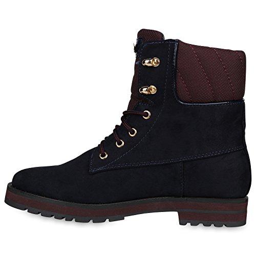 Stiefelparadies Damen Worker Boots Leicht Gefütterte Outdoor Schuhe Profilsohle Flandell Dunkelblau Metallic Brooklyn