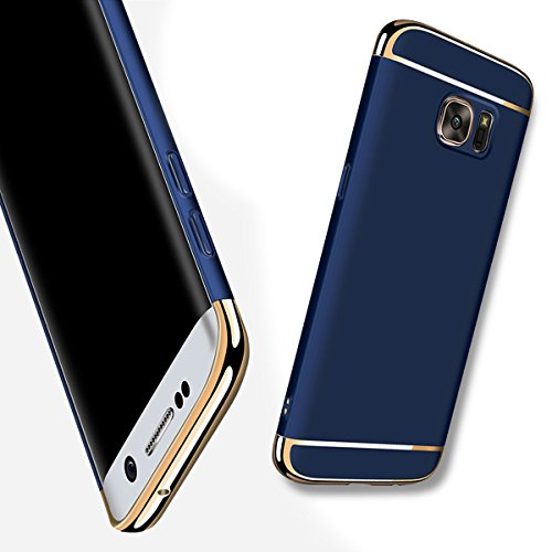 For Galaxy S6 Edge Plus Case,JOBSS Hybrid Luxury Shockproof Armor Back Ultra-thin Case Cover Removable case for Samsung Galaxy S6 Edge Plus Dark Blue