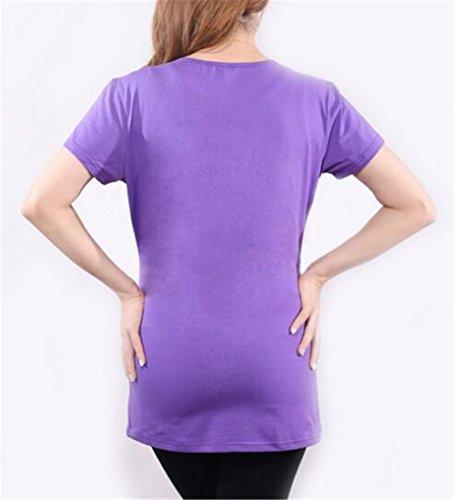 Cuello Mujeres Verano Senora Camisetas Manga Redondo Hipster Remeras T De shirt Mujer Tops Estampado Besthoo Premamá Corta Purple Maternidad Cómodo nZ7wgax8I