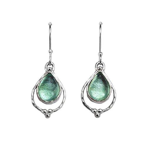 Ancient Roman Glass Earrings Dangle Teardrop Sterling Silver