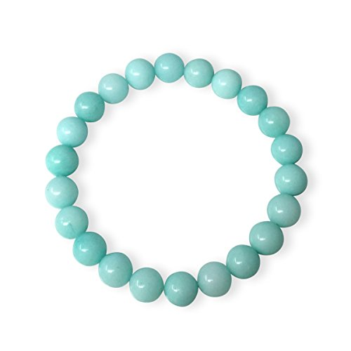 Natural Light Blue Turquoise Pendant - Natural Light Blue Amazonite Bracelet Gemstone Bracelet 7 inch Stretchy Chakra Stones Healing Crystal Great Gifts (Unisex) GB8-6