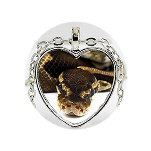Silver Coiled Ball Python Photo Heart Pendant Necklace - Reptile Jewelry-Snake Necklace ()