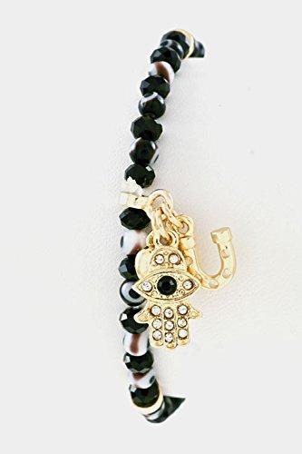 GlitZ Finery Evil Eye with Crystal Stretch Hamsa Multi Charm Stretch Bracelet (Black)