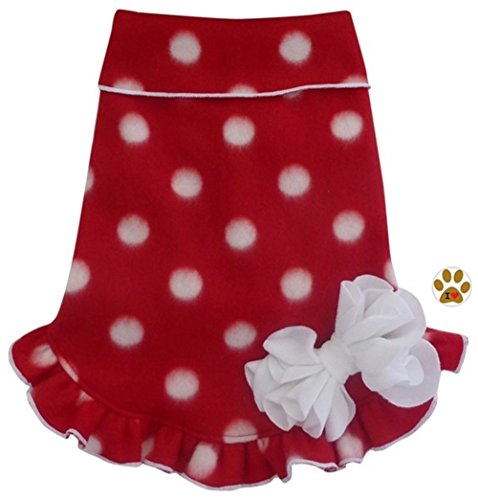Holiday Classic Polka Dot Fleece Pullover Dress Sweater with Pin - in Dog Size (S - Chest 12-14, Neck 12