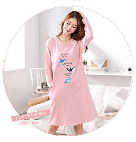 lunghe invernale maniche pigiami Camicia Rosa taglie notte DSJJ cotone 3XL da abito forti donna autunno M BRqnI