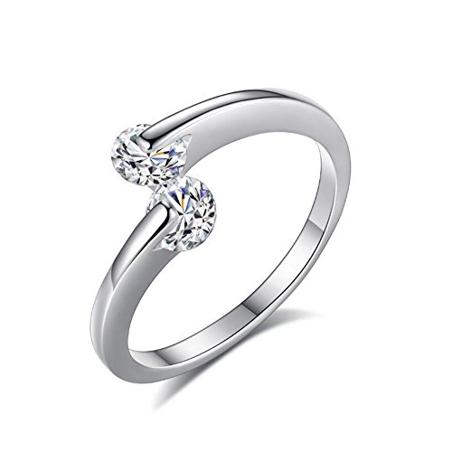 TEMEGO Tension Set CZ Adjustable Open Ring,Double Round Cut Cubic Zirconia White Gold Bypass Ring ()