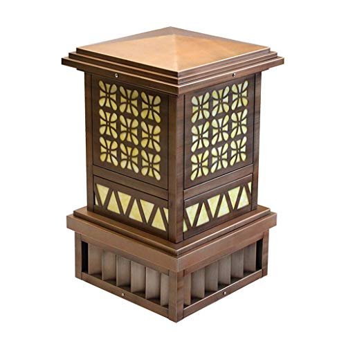 Marble Column Lamp - Outdoor Lighting Pillar Lamp Waterproof Household Column Lamp Villa Courtyard Column Lamp Park Wall Lamp Garden Lawn Lamp Outdoor Imitation Marble Column Lamp (Color : Brown, Size : 454575cm)