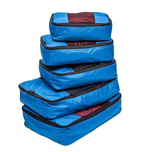 TravelWise Packing Cube System - Durable 5 Piece Weekender+ Set (Blue) from TravelWise