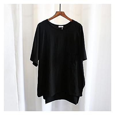 Xmy Poche trous manches courtes T-shirt femme sauvage d'été gros vrac solide coton couleur code half sleeve chemises sport sont gris, code