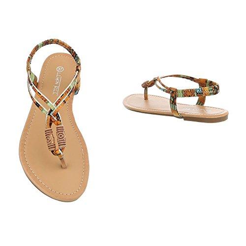 Ital-Design Zapatos Para Mujer Sandalias de Vestir Tacón Ancho Sandalias de Dedo Braun