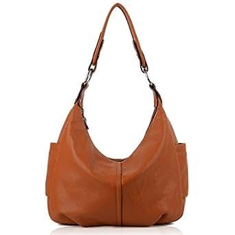 YALUXE Women's Double Zipper Soft Cowhide Leather Purse Shoulder Bag Brown